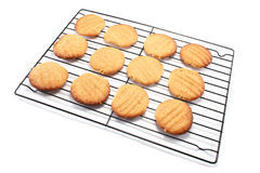 Homemade Cookies on a Cooling Rack. Yummy homemade peanut butter cookies on a metal cooling rack Stock Photos