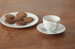 Homemade cookies and a cup of coffe Stock Images