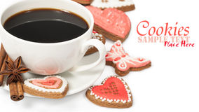 Cookies with a cup of coffee Stock Photos