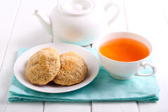 Homemade cookies and cup of tea Stock Photo