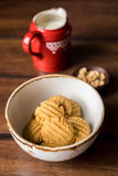 Homemade cookies with ginger, oat flakes and peanut butter Stock Images