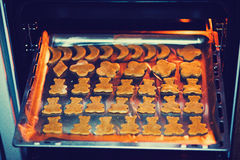 Homemade cookies gingerbread men baked in the oven. natural products.  Stock Photography