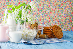 Homemade cookies and glass of milk on table close up Stock Photography