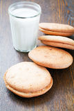 Homemade cookies and a glass of milk Stock Photos