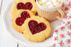Homemade Cookies with Heart-Shaped Center and a Cu Royalty Free Stock Images