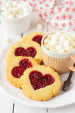 Homemade Cookies with Heart-Shaped Center and a Cu Stock Image