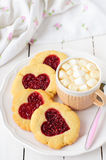 Homemade Cookies with Heart-Shaped Center and a Cup of Hot Choco Stock Photography