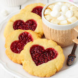 Homemade Cookies with Heart-Shaped Center and a Cup of Hot Choco Stock Image