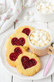 Homemade Cookies with Heart-Shaped Center and a Cup of Hot Chocolate Stock Photos
