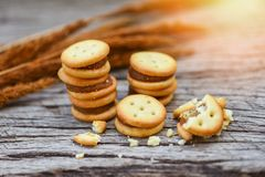 Homemade cookies with jam pineapple - biscuits cookies on wooden for snack cracker royalty free stock photography