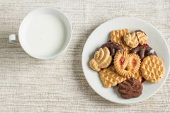 Homemade cookies and milk. Plate with tasty Christmas homemade cookies and milk Royalty Free Stock Images