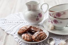 Homemade cookies and nuts with a cup of tea Stock Image