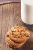 Homemade cookies with nuts and milk Royalty Free Stock Images