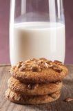 Homemade cookies with nuts and milk Stock Photography