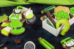 Gingerbreads cookies for Patrick`s day. Homemade cookies for Patrick`s day on concrete background Stock Photos