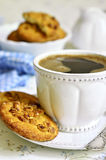 Homemade cookies with peanut and cup of coffee. Stock Images