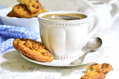 Homemade cookies with peanut and cup of coffee. Stock Photography
