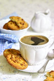 Homemade cookies with peanut and cup of coffee. Stock Image