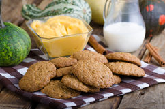 Homemade cookies with pumpkin cinnamon dip Royalty Free Stock Photos