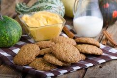 Homemade cookies with pumpkin cinnamon dip Royalty Free Stock Photos