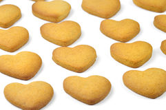 Homemade cookies in a rows. Homemade cookies (heart shape) in a rows Stock Photos