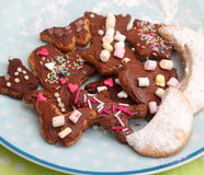 Homemade cookies. Some homemade cookies with chocolate and spinkles Stock Images