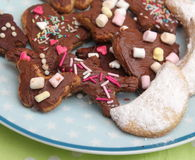 Homemade cookies. Some homemade cookies with chocolate and spinkles royalty free stock photo