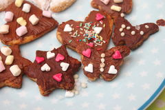 Homemade cookies. Some homemade christmas cookies with chocolate Royalty Free Stock Image