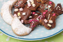 Homemade cookies. Some homemade christmas cookies with chocolate royalty free stock images