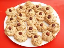 Homemade cookies. Some fresh homemade cookies with nuts Royalty Free Stock Photography