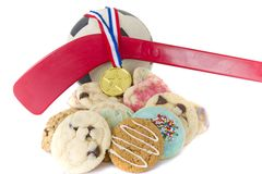 Homemade cookies for sporting event Royalty Free Stock Images