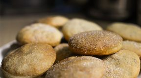 Homemade cookies with sugar, cinnamon and sesame.  Royalty Free Stock Photography