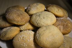 Homemade cookies with sugar, cinnamon and sesame.  Royalty Free Stock Photo