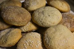 Homemade cookies with sugar, cinnamon and sesame.  Stock Photos