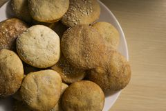 Homemade cookies with sugar, cinnamon and sesame.  Royalty Free Stock Images