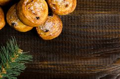 Homemade cookies with sugar, on a dark wooden background with a spruce branch Stock Images