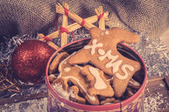 Homemade cookies in a tin Royalty Free Stock Image