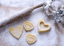 Homemade cookies for Valentine. Stock Image