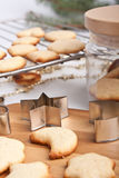 Homemade cookies with various cookie forms Royalty Free Stock Images