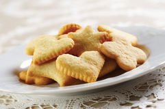 Homemade cookies on white plate Stock Photos