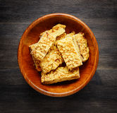 Homemade cookies in a wooden bowl. Biscuits baking Royalty Free Stock Images