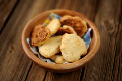 Homemade cookies in wooden bowl Royalty Free Stock Photography