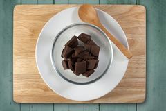Homemade cooking concept. Chopped chocolate prepare for baking Stock Image