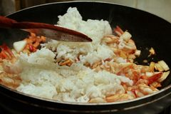 Homemade cooking,Fried Jasmine rice with prawns in yellow powder Stock Image