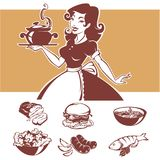 Homemade cooking, vector illustraton of pinup housewife and comm. On menu dishes Royalty Free Stock Photos