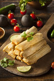 Homemade Corn and Chicken Tamales Stock Photos