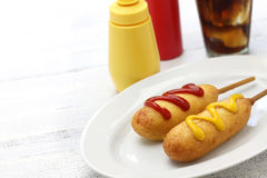Homemade corn dogs and cola Stock Photo