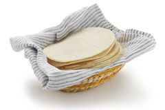 Homemade corn tortillas. Mexican food on a white background Royalty Free Stock Photo