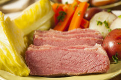 Homemade Corned Beef and Cabbage Stock Photos