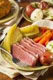 Homemade Corned Beef and Cabbage Stock Images